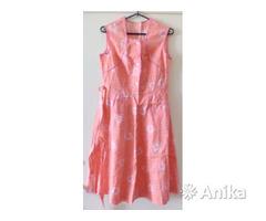 Платье ситцевое с пояском, розовое, р42-44