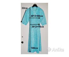 Платье голубого цвета в цветочки, р48-50