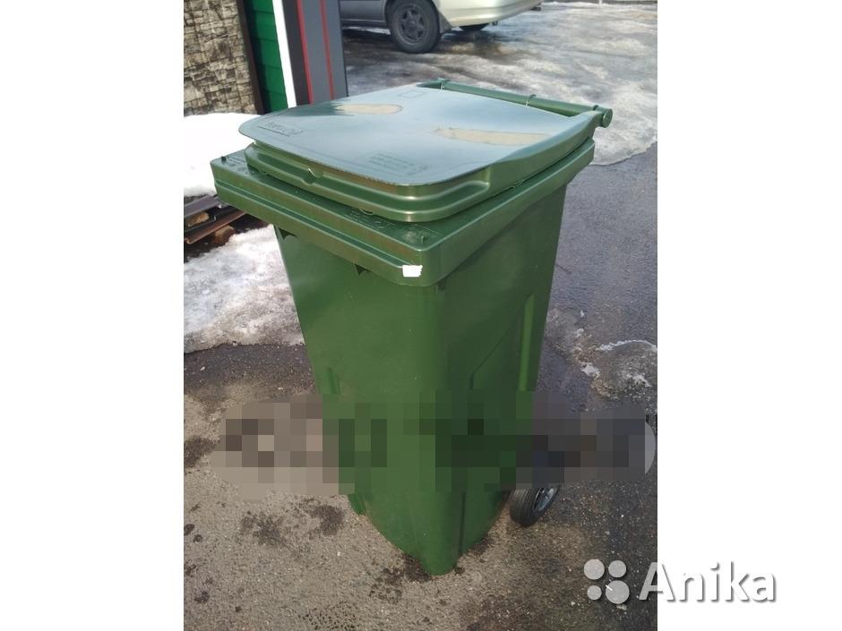 Мусорный контейнер на 120 литров зеленый - 3