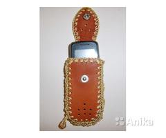 Чехол для сотового телефона рыжий из натур.кожи