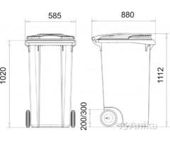 Пластиковый контейнер для мусора 360 л. серый