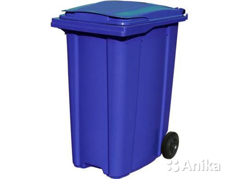 Мусорный контейнер на колесах на 360 л. синий - 1
