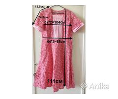 Платье ситцевое красное с роз.вставками, р.48-50